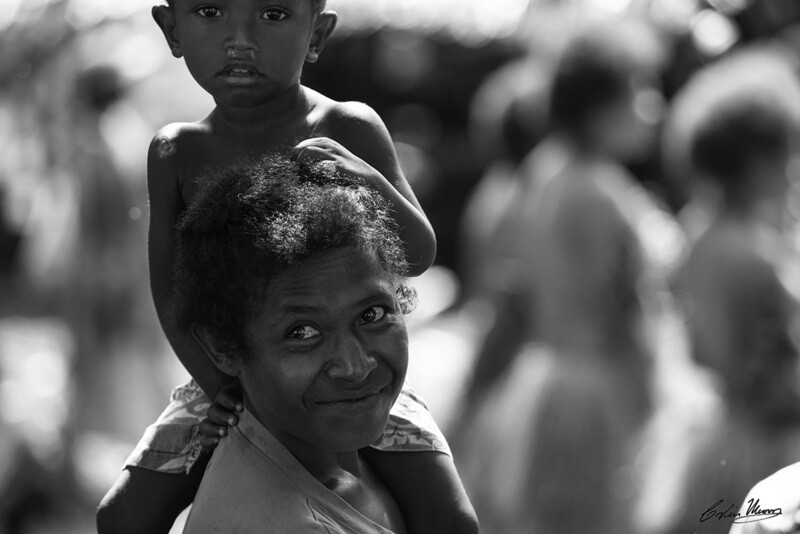 Mother and son, Fergusson Island,  Papua New Guinea. B&W. 10x15 Acrylic