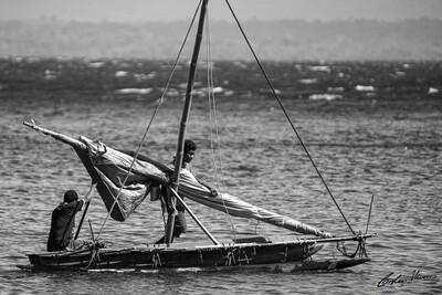 Sailau outrigger canoe, Dobu Island. B&W.   10x15 Acrylic