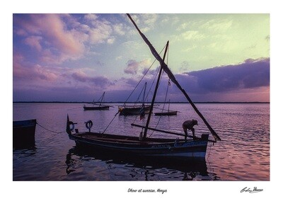 Dhow at sunrise signed print
