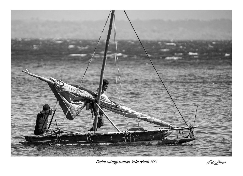 Sailau outrigger canoe, Dobu Island, signed print
