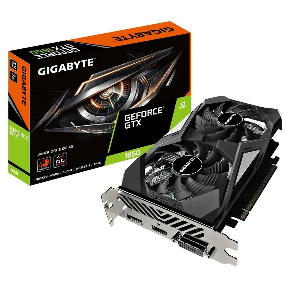 Placa de Vídeo Gigabyte NVIDIA GeForce GTX 1650 D6 WINDFORCE OC, 4G, GDDR6, Rev. 2.0