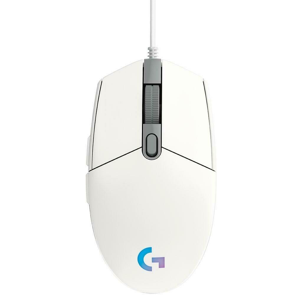 Mouse Gamer Logitech G203 RGB Lightsync, 6 Botões, 8000 DPI, Branco - 910-005794