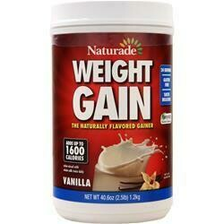 NATURADE Weight Gain The Naturally Flavored Gainer Protein Powder (with iron, calories 219, protein 10g, sugars 16g)