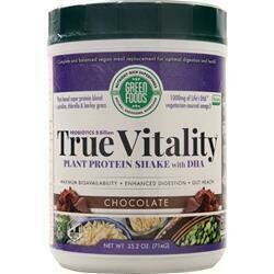 GREEN FOODS True Vitality Plant Based Protein Powder (with dha, iodine 45mcg, probiotics 19mg, calories 134, protein 15g, sugars 6g)