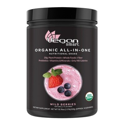 NATURADE VeganSmart Organic All-In-One Plant Based Premium Protein (calories 170, sugars 5g, protein 20g, iron 9mg, iodine 75mcg, prebiotics 150mg)