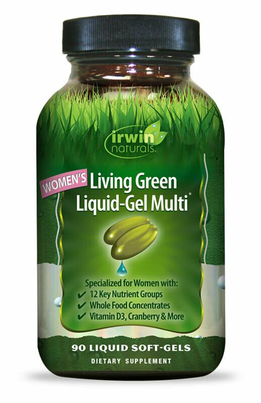 IRWIN NATURALS Women's Living Green Liquid Gel Multi Vitamin (liquid soft gel pills 90 count)