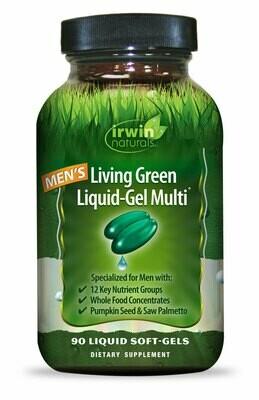 IRWIN NATURALS Men's Living Green Liquid Gel Multi Vitamin (liquid soft gel pills 90)