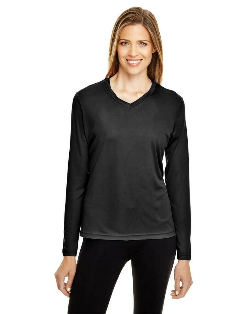 Women's Performance Lightweight V-Neck Long Sleeve T-Shirt with UV Protection