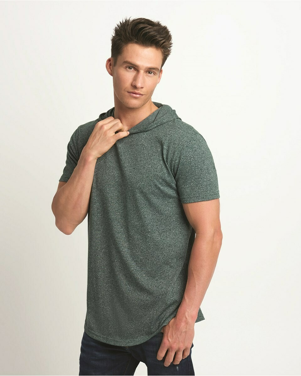Men's Lightweight Slightly Fitted Mock Twist Short-Sleeve T-Shirt Hoodie with Side Vents.