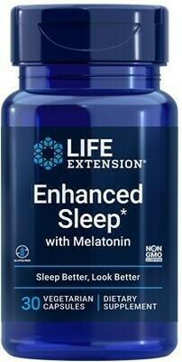 Enhanced Sleep with Melatonin (30 veg. caps) Tres compuestos clínicamente estudiados que fomentan el sueño reparador, respuesta saludable al estrés, piel juvenil y otros beneficios.