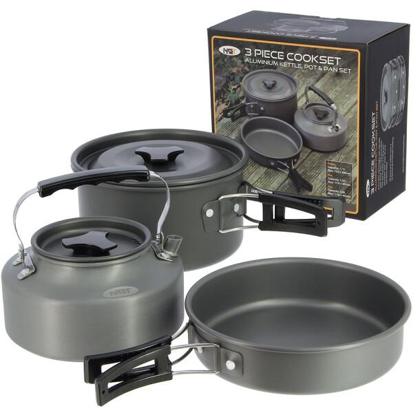 NGT Aluminium Outdoor Cook Set - 1.1 litre Kettle, Pot and Pan in Gun Metal