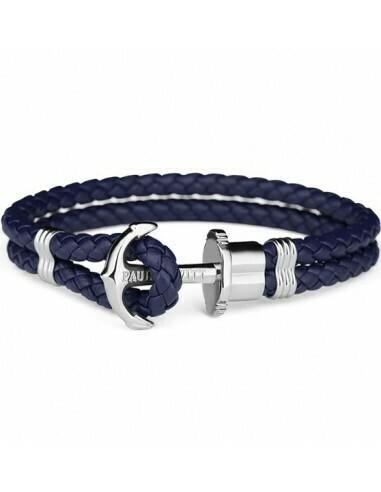 Ancre Phrep Argenté Cuir Bleu Marine