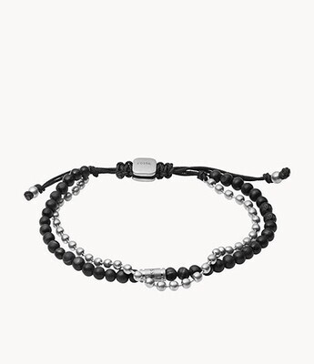 Bracelet multi-rangs en acier inoxydable et pierre de lave