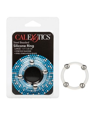 """Steel Beaded Silicone Ring 1.5"""" Large"""