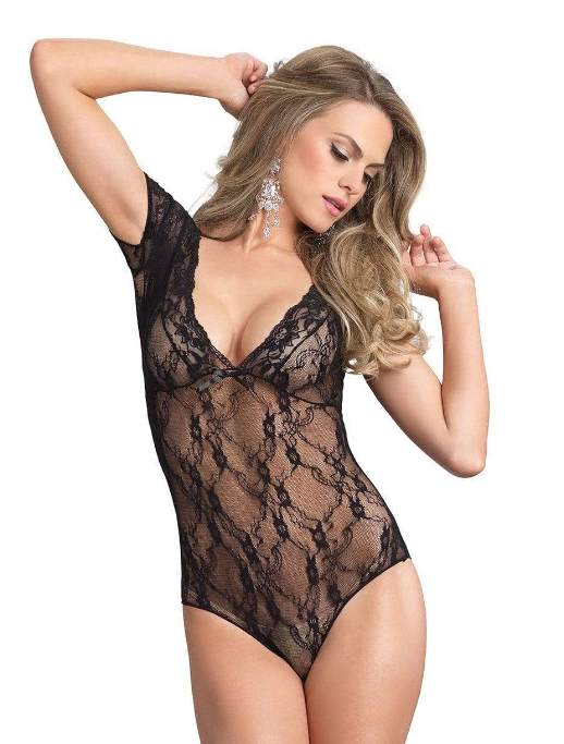 Floral Lace Backless Teddy
