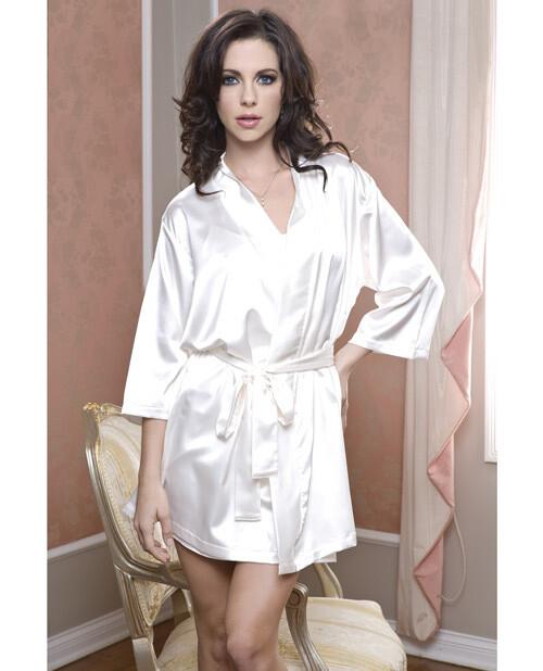 Satin 3/4 Sleeve Robe White