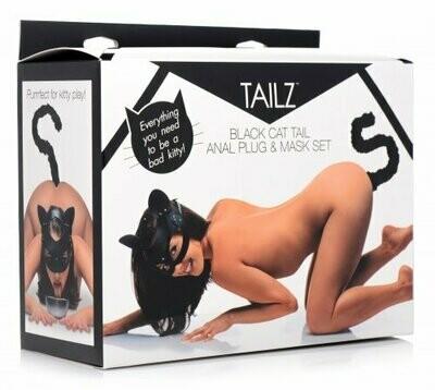 Tailz Black Cat Tail Anal Plug & Mask Set