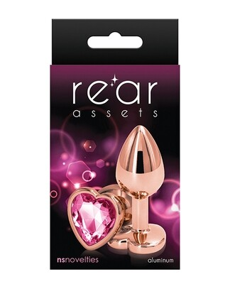 Rear Assets Heart Rose Gold Pink Plug Small