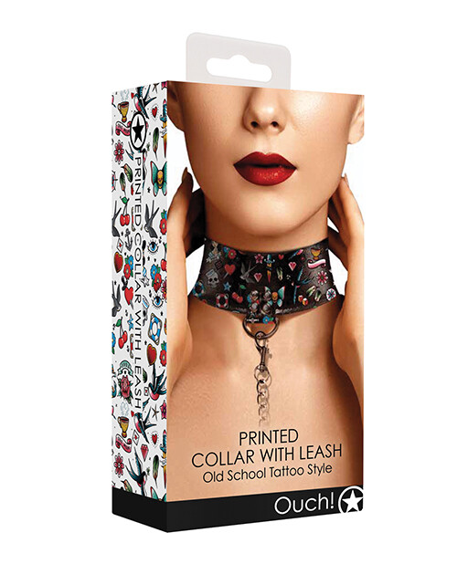 Ouch Old School Tattoo Style Printed Collar w/Leash