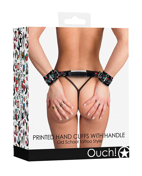 Ouch Old School Tattoo Style Printed Handcuffs w/Handle