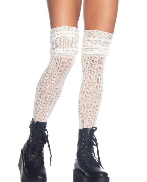 White Acrylic Over The Knee Sock