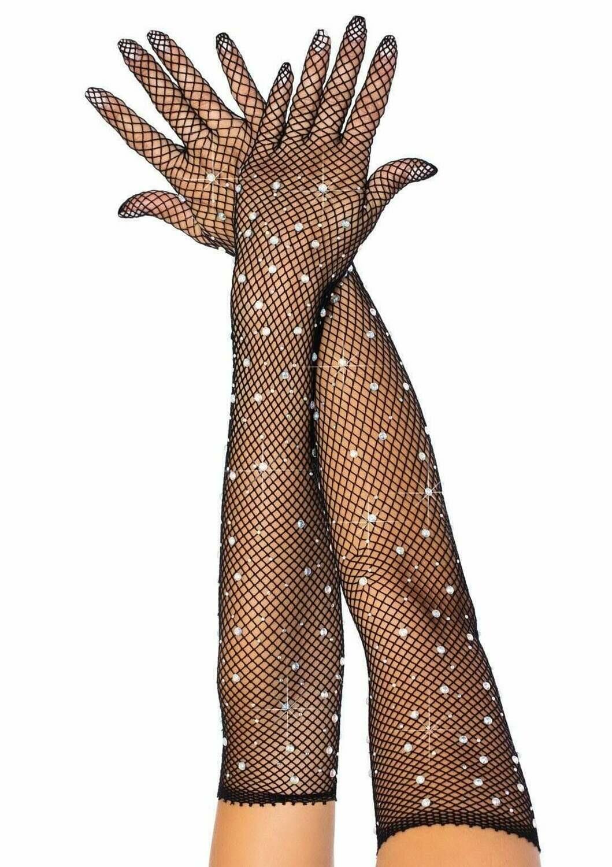 Rhinestone fishnet opera length gloves - Black