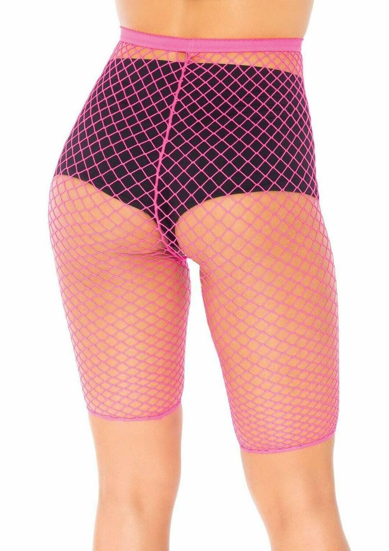 Neon Pink Fishnet Biker Shorts
