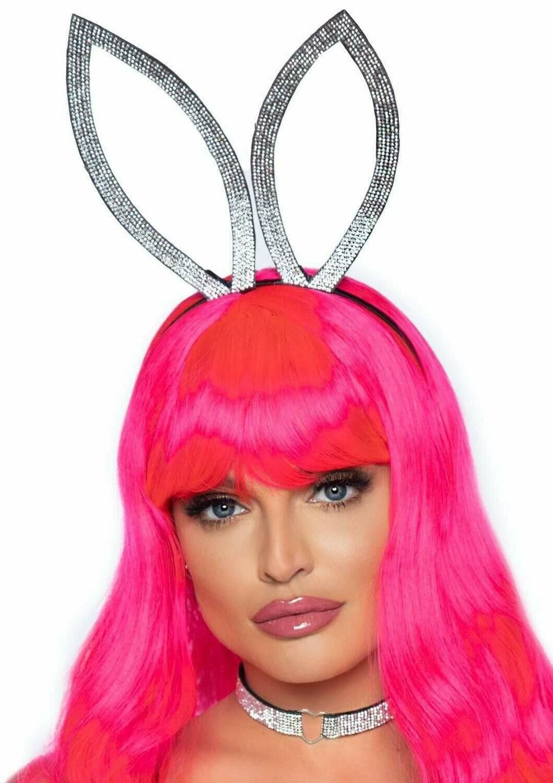 2 PC Faux rhinestone bunny ear headband and heart choker