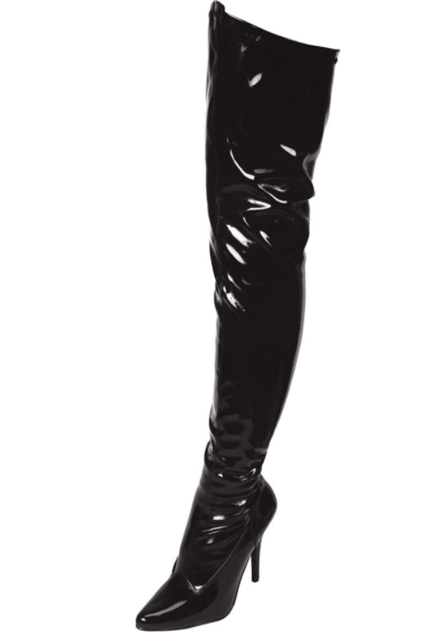 """5"""" Black Pointed Toe Thigh High Boot"""