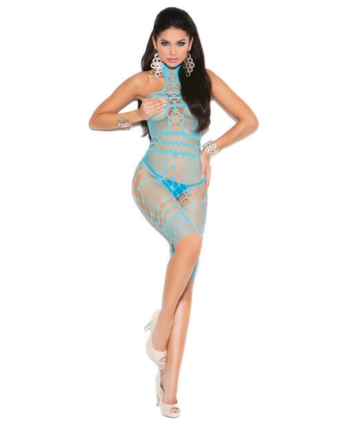 Vivace Crochet & Fishnet Halter Neck Mid Length Bodystocking Turquoise