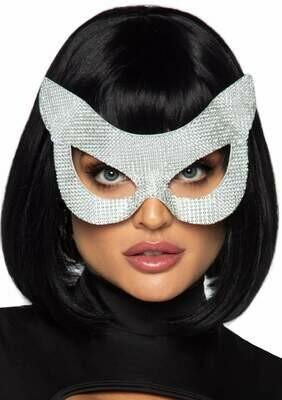 Faux Rhinestone Cat Mask