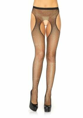 Rhinestone Suspender Pantyhose - Black