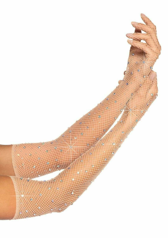 Rhinestone fishnet opera length gloves - Nude