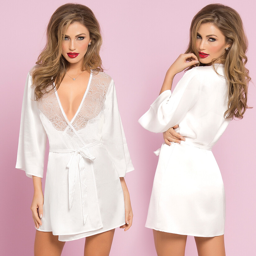 Toast Of The Town Satin Lace Robe - White