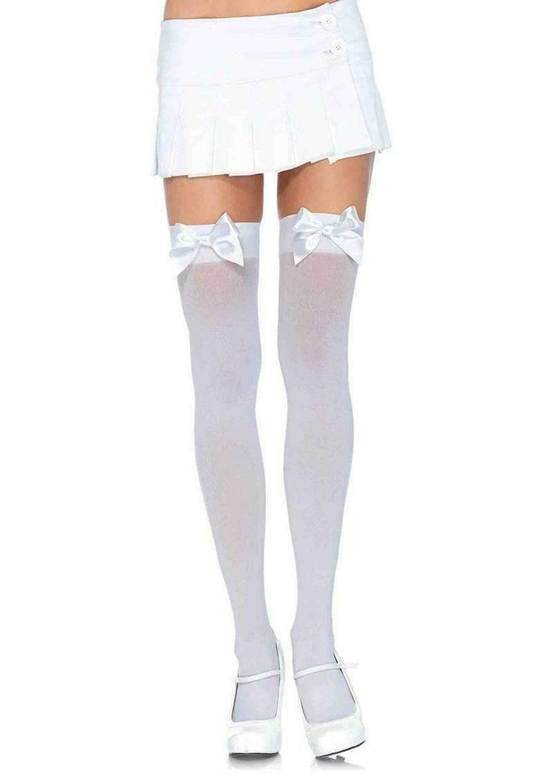 Nylon Thigh High With Bow - White