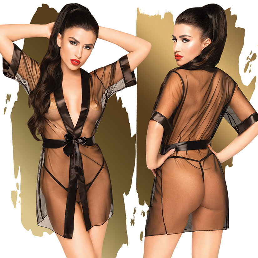 Penthouse Midnight Mirage Robe With Thong - Black