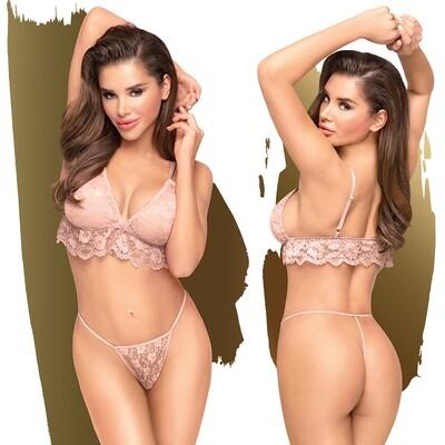Penthouse Double Spice Lace Bralette Set- Nude