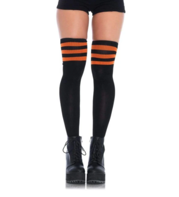 Black & Orange Athletic Thigh High