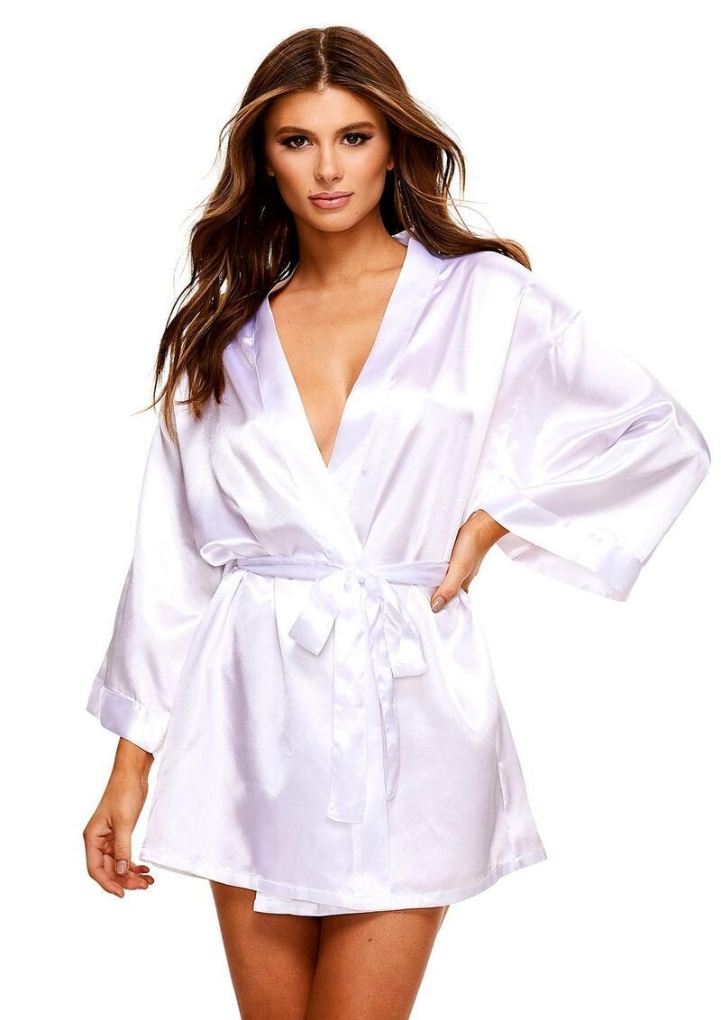 All Satin Robe - White