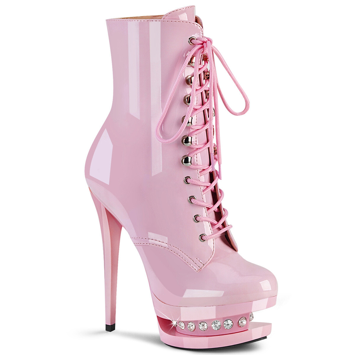 """Pink 6"""" Blondie Lace up Ankle Boot"""