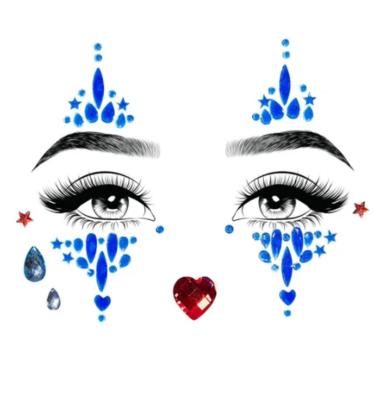 Harlequin adhesive face jewels