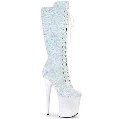 """White 8"""" Glitter Knee High Boot"""