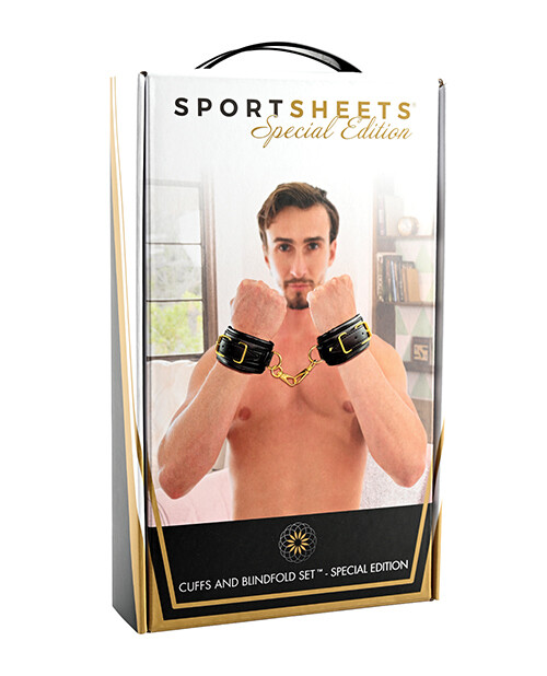Cuffs and Blindfold Set - Special Edition -Black/Gold