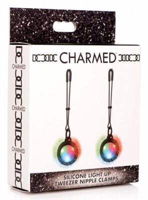 Charmed Silicone Light-Up Tweezer Nipple Clamps - Black