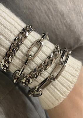 Bracciali catena ottone argento