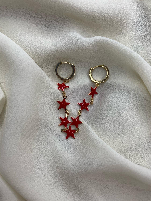 Orecchino stelle rosse
