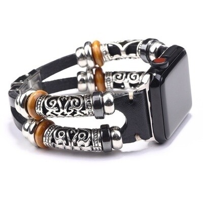 Bracelet Strap Alloy Leather Wristband for Apple Watch 42mm / 44mm - Black
