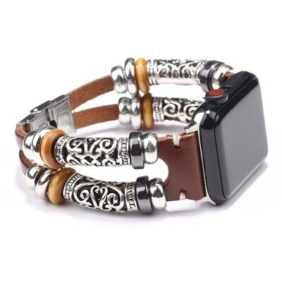Bracelet Strap Alloy Leather Wristband for Apple Watch 42mm / 44mm - Brown
