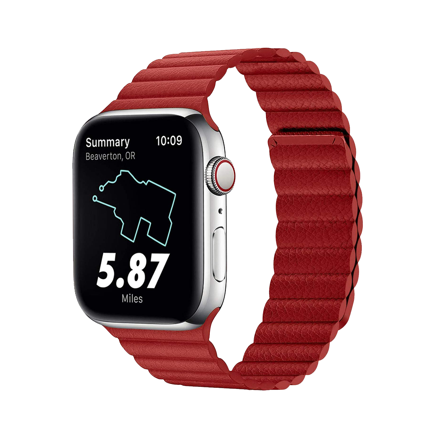 Strong Magnetic Adjustable Leather Strap with Flexible Molded Magnets for Apple Watch 42mm / 44mm - Red
