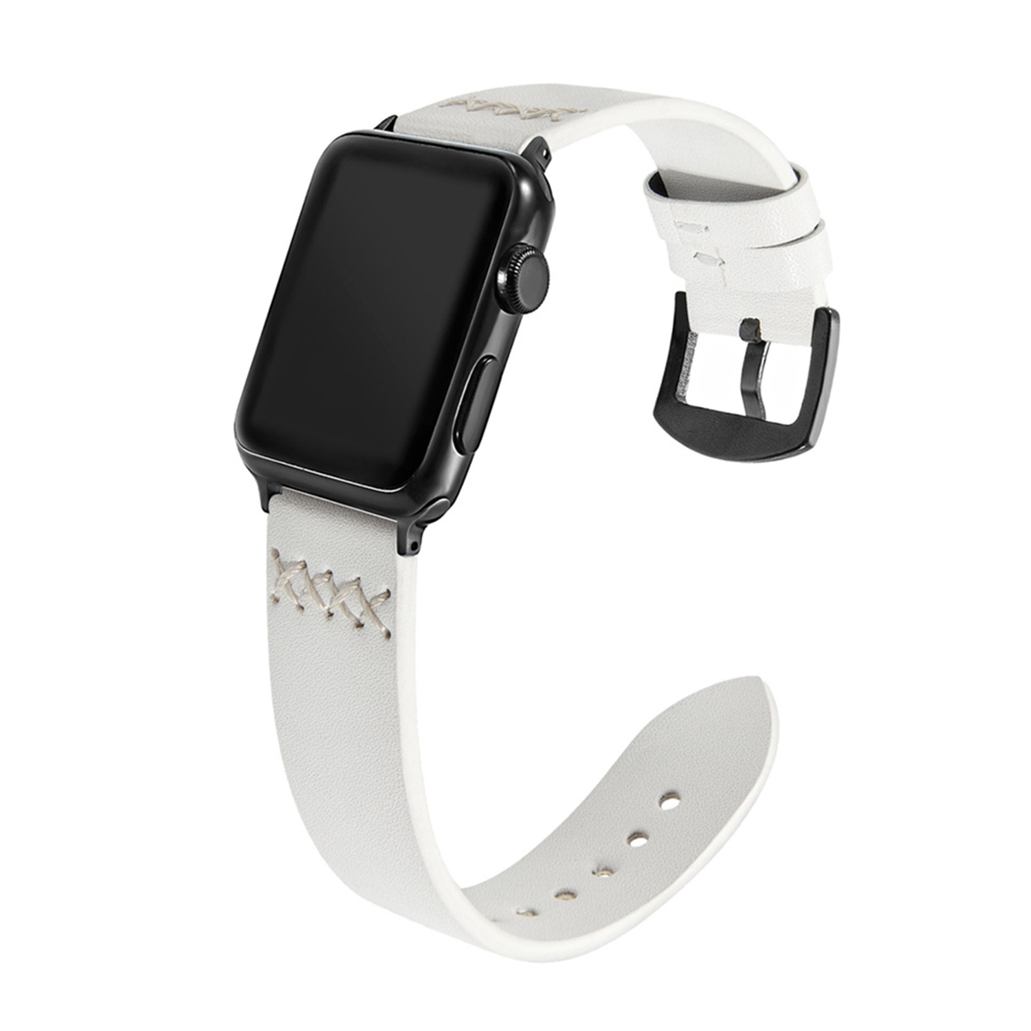 Hand-stitched Leather Strap for Apple Watch 42mm / 44mm - White